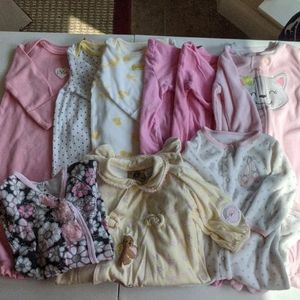 Baby girls footie PJ's and sleeper gowns